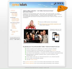 Die Startseite unseres Portals www.cortex-tickets.de